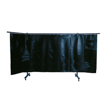 3-panel mobile protection screen with welding strip curtain S9, dark green, matt